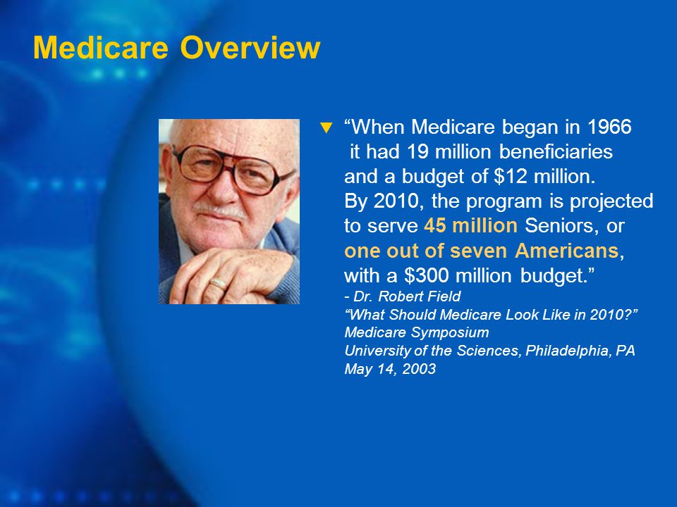  When Medicare began in 1966 it had 19 million beneficiaries and a budget of $12 million.
