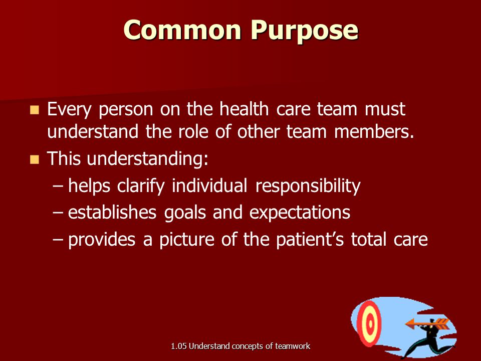 Common Purpose Every person on the health care team must understand the role of other team members. This understanding: – –helps clarify individual re