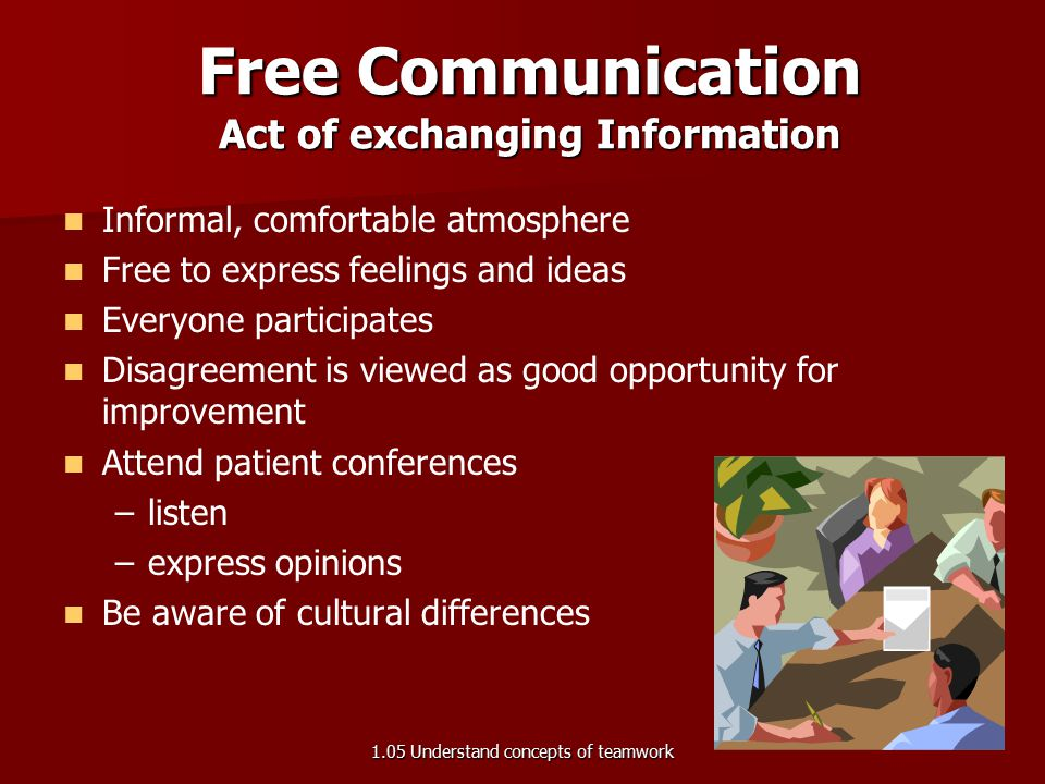 Informal, comfortable atmosphere Free to express feelings and ideas Everyone participates Disagreement is viewed as good opportunity for improvement A