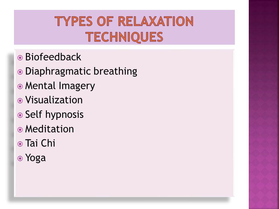  Biofeedback  Diaphragmatic breathing  Mental Imagery  Visualization  Self hypnosis  Meditation  Tai Chi  Yoga  Biofeedback  Diaphragmatic breathing  Mental Imagery  Visualization  Self hypnosis  Meditation  Tai Chi  Yoga