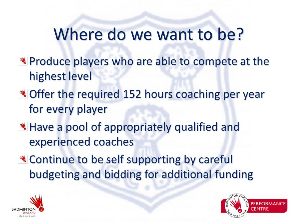 Where do we want to be? Produce players who are able to compete at the highest level Offer the required 152 hours coaching per year for every player H