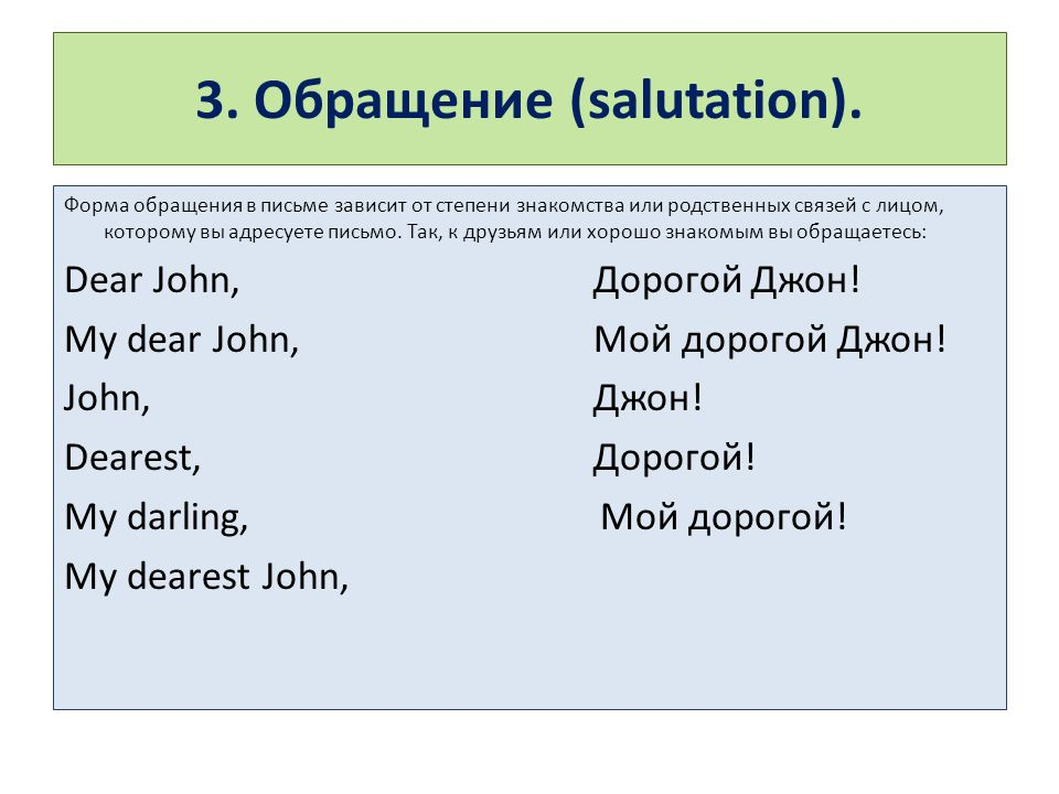 3. Обращение (salutation).