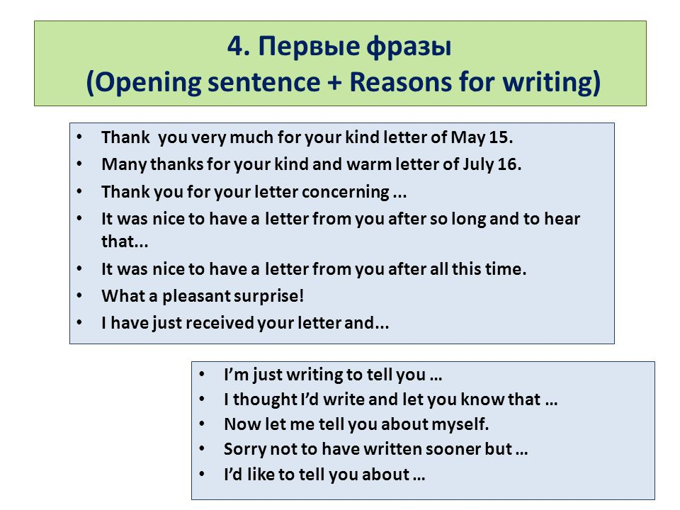 4. Первые фразы (Opening sentence + Reasons for writing) Thank you very much for your kind letter of May 15. Many thanks for your kind and warm letter