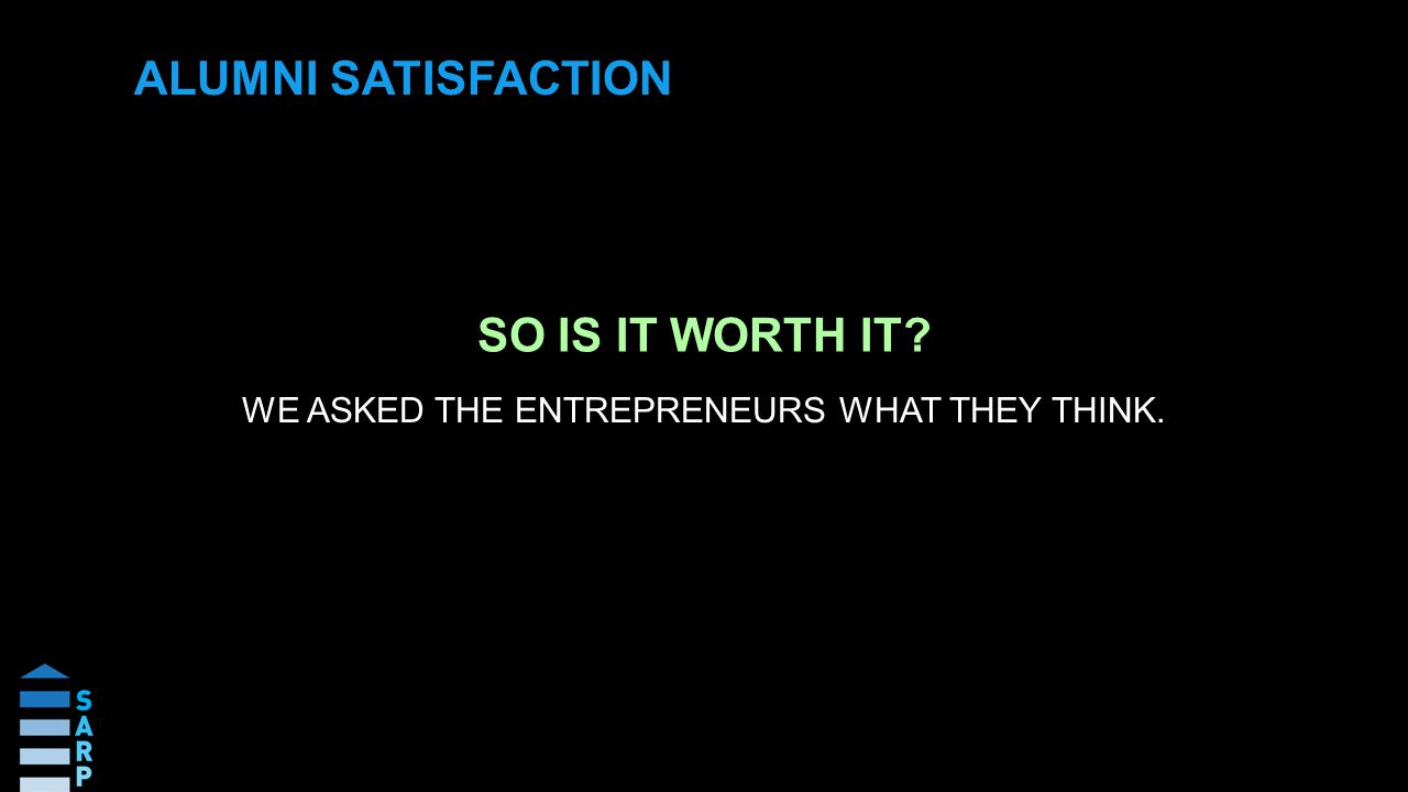 SO IS IT WORTH IT WE ASKED THE ENTREPRENEURS WHAT THEY THINK. ALUMNI SATISFACTION