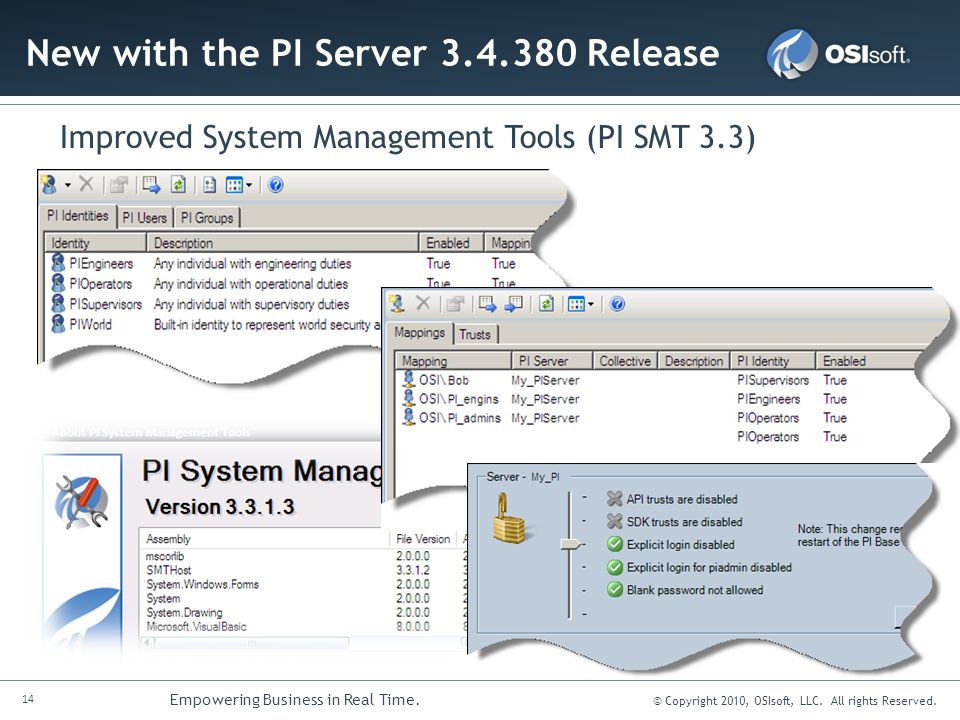 14 Empowering Business in Real Time. © Copyright 2010, OSIsoft, LLC. All rights Reserved. New with the PI Server 3.4.380 Release Improved System Manag
