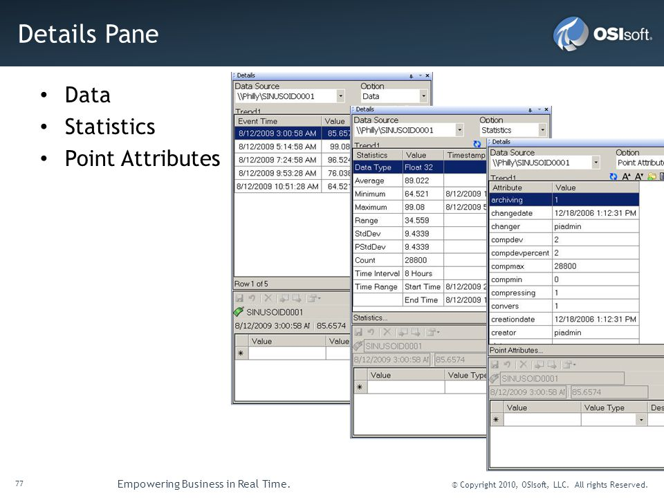 77 Empowering Business in Real Time. © Copyright 2010, OSIsoft, LLC. All rights Reserved. Details Pane Data Statistics Point Attributes