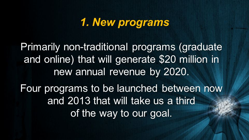 Primarily non-traditional programs (graduate and online) that will generate $20 million in new annual revenue by 2020.