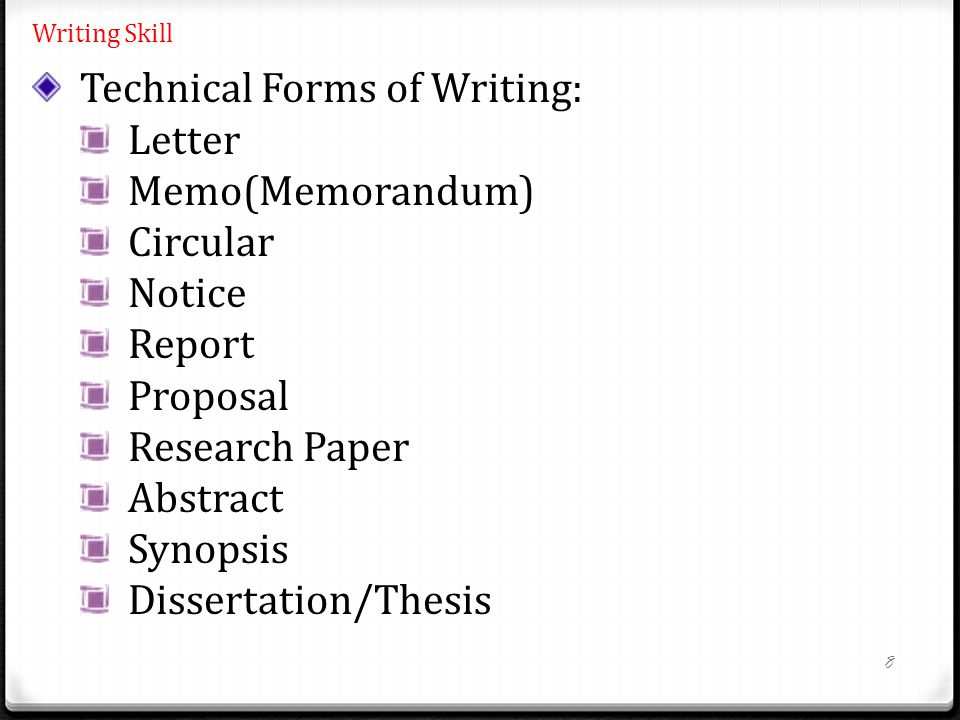 8 Writing Skill Technical Forms of Writing: Letter Memo(Memorandum) Circular Notice Report Proposal Research Paper Abstract Synopsis Dissertation/Thesis