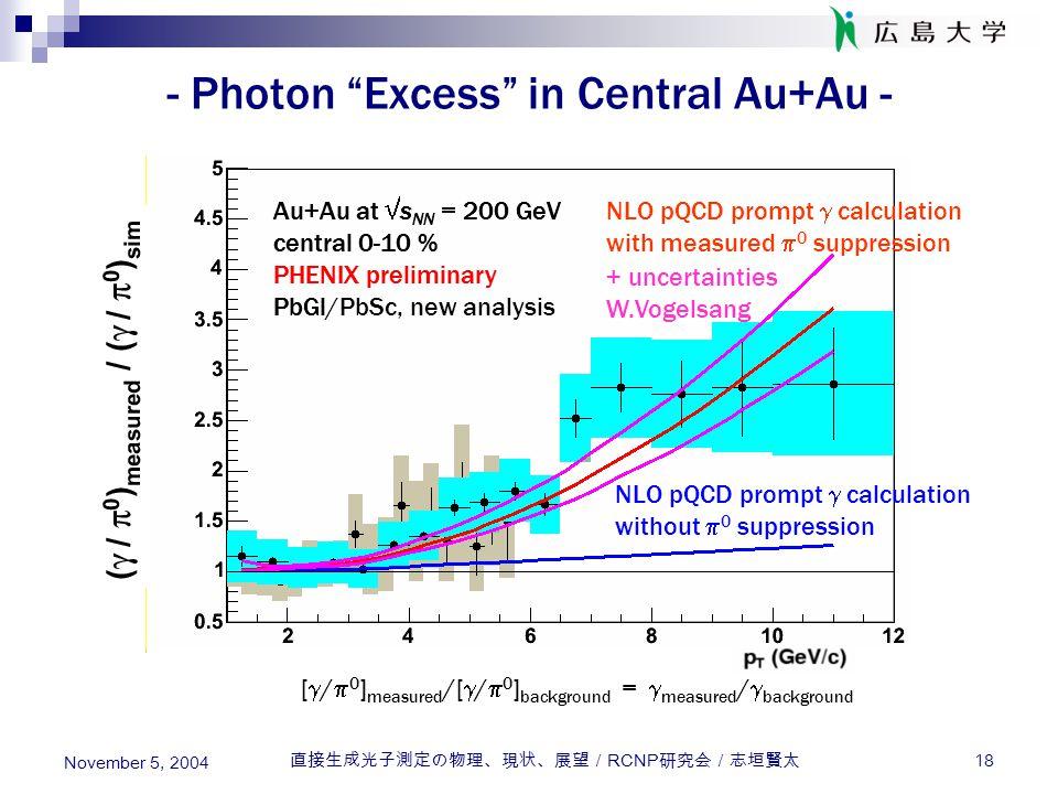 "直接生成光子測定の物理、現状、展望/ RCNP 研究会/志垣賢太 18 November 5, 2004 - Photon ""Excess"" in Central Au+Au - Au+Au at  s NN = 200 GeV central 0-10 % PHENIX preliminary"
