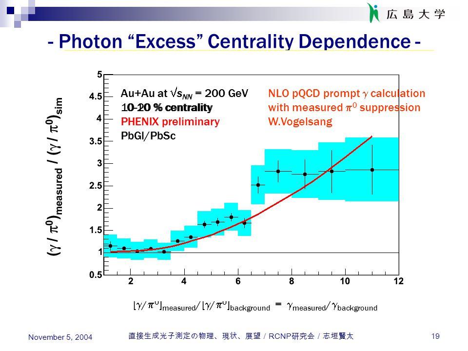 """直接生成光子測定の物理、現状、展望/ RCNP 研究会/志垣賢太 19 November 5, 2004 - Photon """"Excess"""" Centrality Dependence - Au+Au at  s NN = 200 GeV 80-92 % centrality PHENIX pre"""