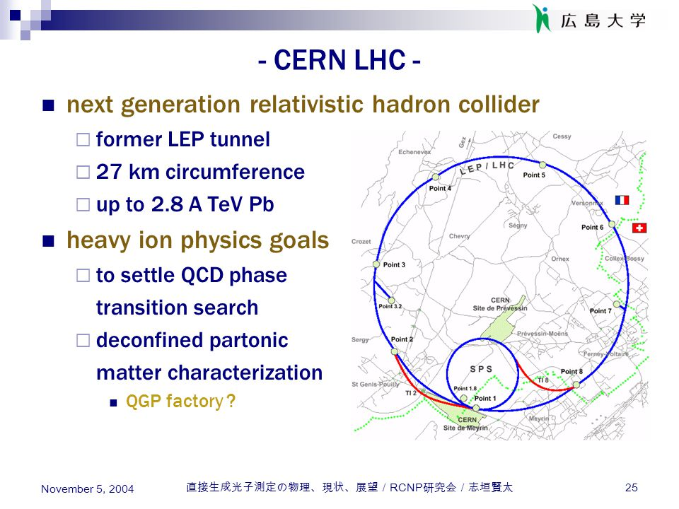直接生成光子測定の物理、現状、展望/ RCNP 研究会/志垣賢太 25 November 5, 2004 - CERN LHC - next generation relativistic hadron collider  former LEP tunnel  27 km circumference  up to 2.8 A TeV Pb heavy ion physics goals  to settle QCD phase transition search  deconfined partonic matter characterization QGP factory