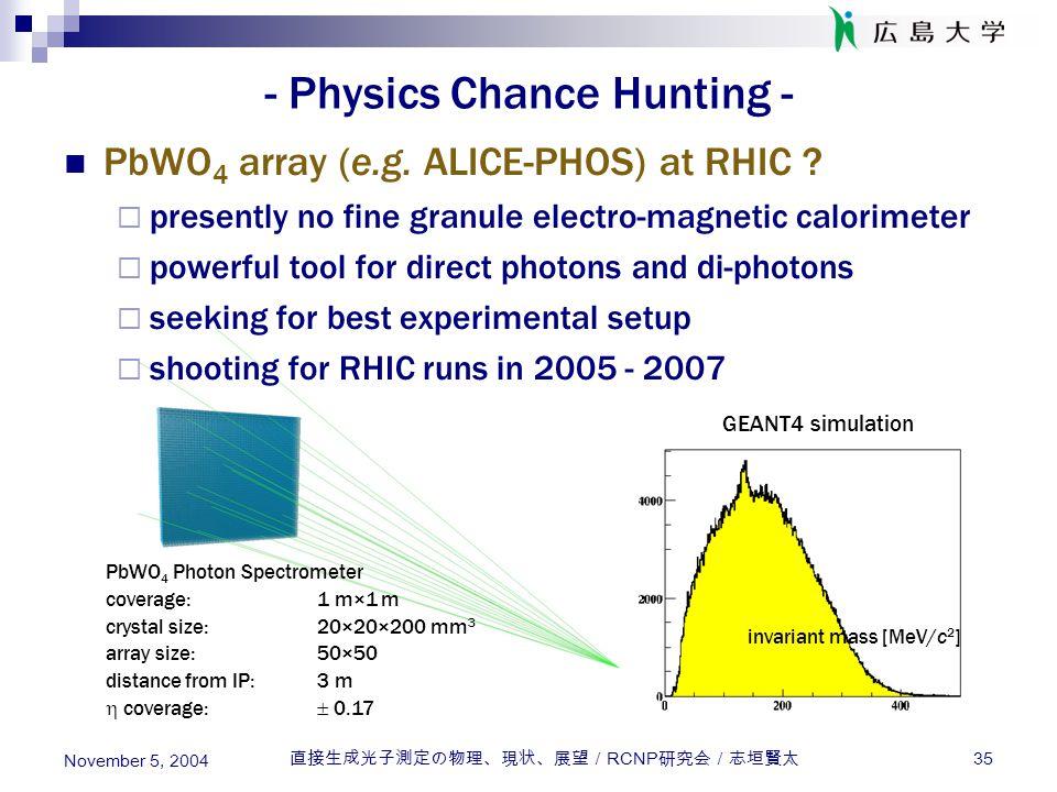 直接生成光子測定の物理、現状、展望/ RCNP 研究会/志垣賢太 35 November 5, 2004 - Physics Chance Hunting - PbWO 4 array (e.g. ALICE-PHOS) at RHIC ?  presently no fine granule e