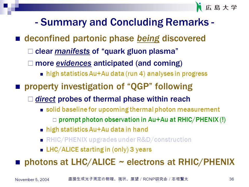 直接生成光子測定の物理、現状、展望/ RCNP 研究会/志垣賢太 36 November 5, 2004 - Summary and Concluding Remarks - deconfined partonic phase being discovered cclear manifests