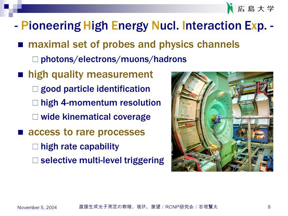 直接生成光子測定の物理、現状、展望/ RCNP 研究会/志垣賢太 8 November 5, 2004 - Pioneering High Energy Nucl. Interaction Exp. - maximal set of probes and physics channels  pho