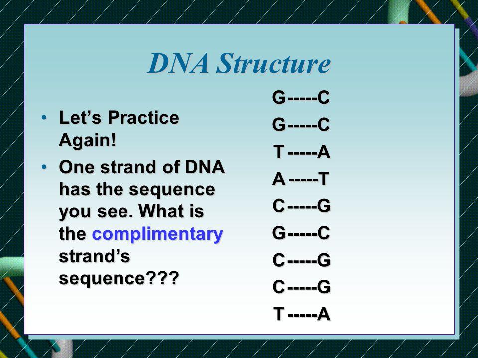 DNA Structure Let's Practice Again!Let's Practice Again.