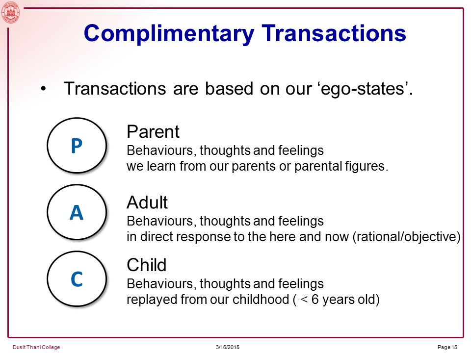 3/16/2015 Dusit Thani College Page 15 Transactions are based on our 'ego-states'.
