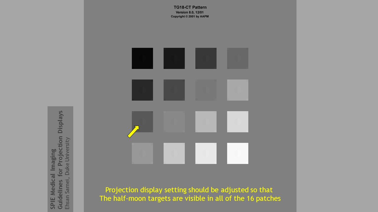Projection display setting should be adjusted so that The half-moon targets are visible in all of the 16 patches SPIE Medical Imaging Guidelines for Projection Displays Ehsan Samei, Duke University