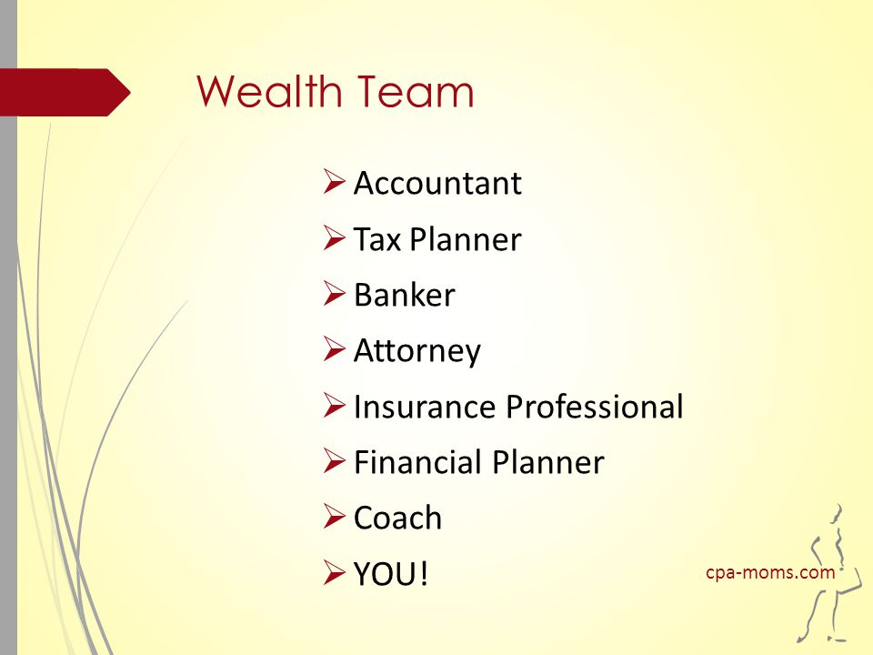 Wealth Team  Accountant  Tax Planner  Banker  Attorney  Insurance Professional  Financial Planner  Coach  YOU.