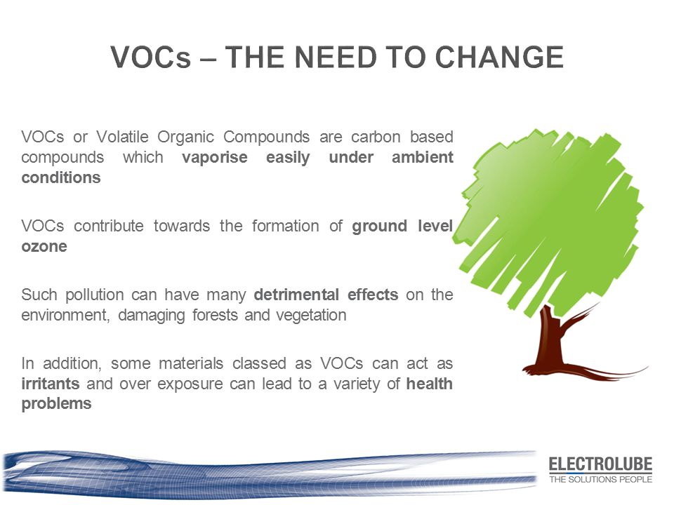VOCs or Volatile Organic Compounds are carbon based compounds which vaporise easily under ambient conditions VOCs contribute towards the formation of