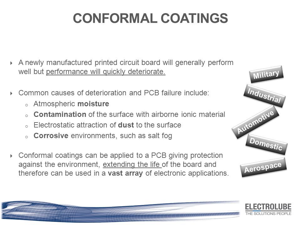 CONFORMAL COATINGS  A newly manufactured printed circuit board will generally perform well but performance will quickly deteriorate.  Common causes
