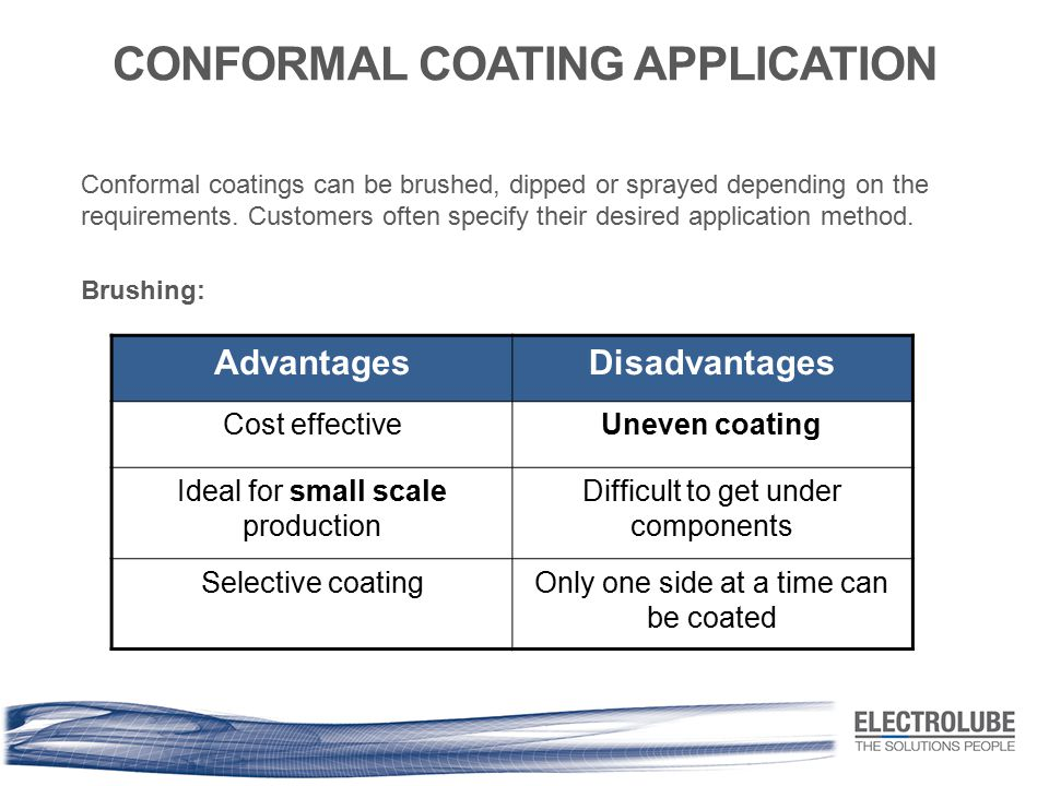 CONFORMAL COATING APPLICATION Conformal coatings can be brushed, dipped or sprayed depending on the requirements. Customers often specify their desire