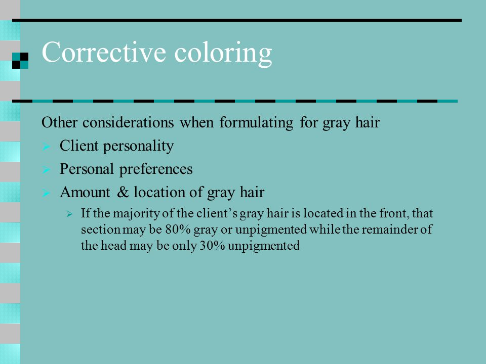 Presoftening Gray hair can be highly resistance & required presoftening to allow proper penetration of color This is a double-application service It is applied, processed & removed Then tint is applied
