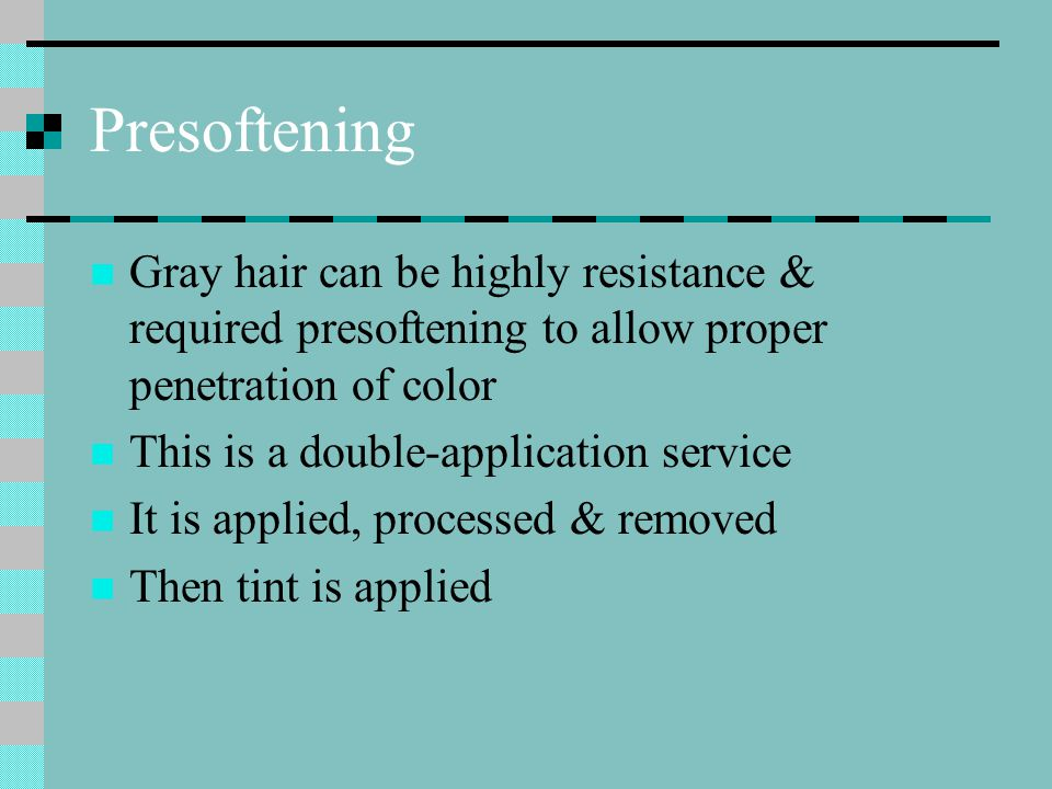Presoftening Mix product according to manufacturer's directions Apply w/ brush or bottle in most resistant areas first Process at room temperature for 5 to 20 minutes Wipe color gently w/ cloth or paper towel to remove Apply desired level & tone of color to achieve desired results Follow established procedures for color application