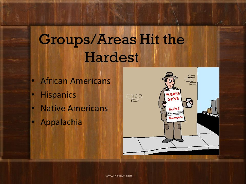 Groups/Areas Hit the Hardest African Americans Hispanics Native Americans Appalachia