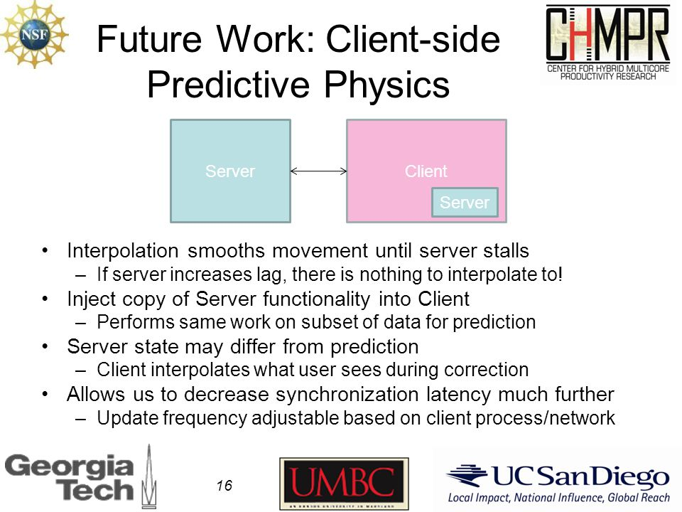Future Work: Client-side Predictive Physics Interpolation smooths movement until server stalls –If server increases lag, there is nothing to interpolate to.