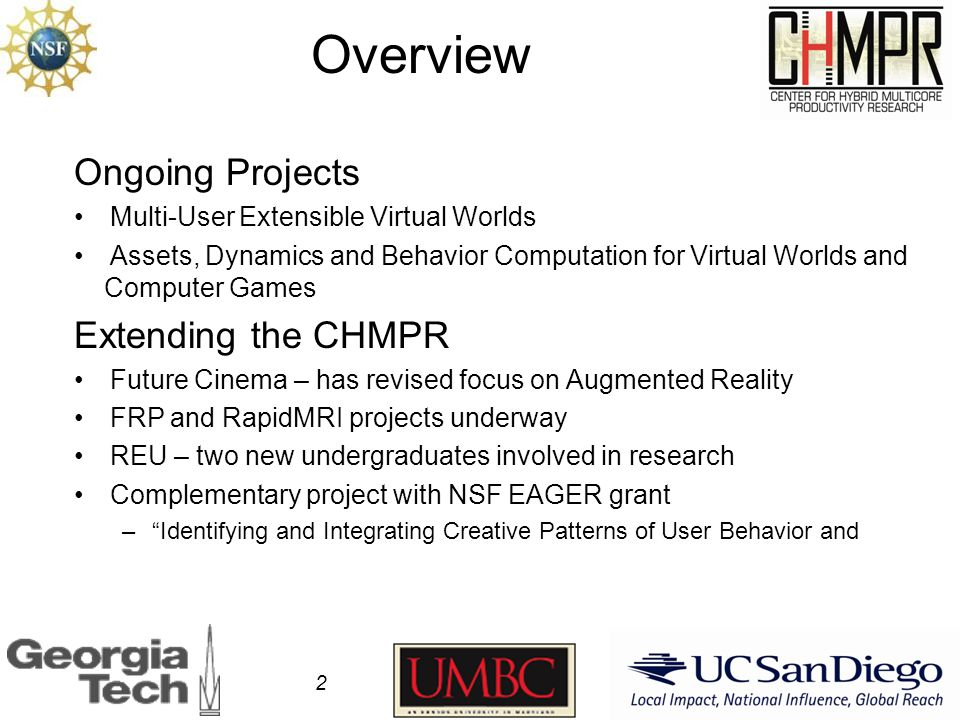 Assets, Dynamics and Behavior Computation for Virtual Worlds and Computer Games Status: Continuing Project Description: Digital media environments are increasingly authored by users while they interact with them.