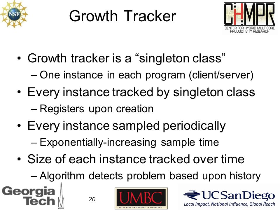 Growth Tracker Growth tracker is a singleton class –One instance in each program (client/server) Every instance tracked by singleton class –Registers upon creation Every instance sampled periodically –Exponentially-increasing sample time Size of each instance tracked over time –Algorithm detects problem based upon history 20