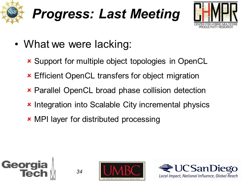 Progress: Last Meeting What we were lacking:  Support for multiple object topologies in OpenCL  Efficient OpenCL transfers for object migration  Parallel OpenCL broad phase collision detection  Integration into Scalable City incremental physics  MPI layer for distributed processing 34
