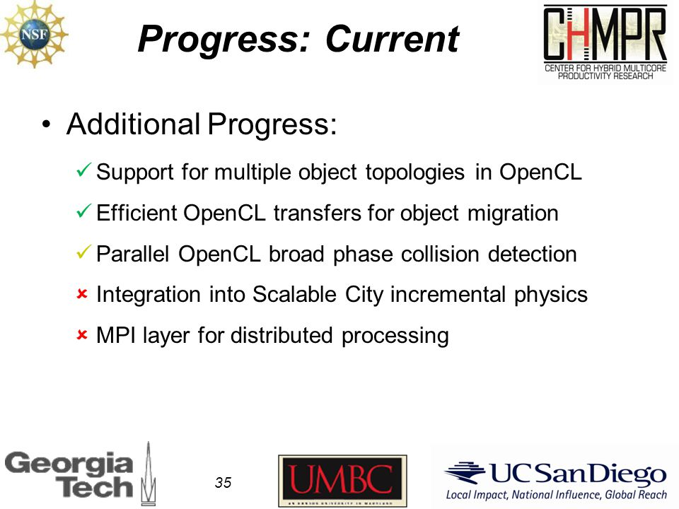 Progress: Current Additional Progress: Support for multiple object topologies in OpenCL Efficient OpenCL transfers for object migration Parallel OpenCL broad phase collision detection  Integration into Scalable City incremental physics  MPI layer for distributed processing 35