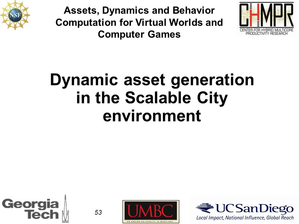 Dynamic asset generation in the Scalable City environment Assets, Dynamics and Behavior Computation for Virtual Worlds and Computer Games 53