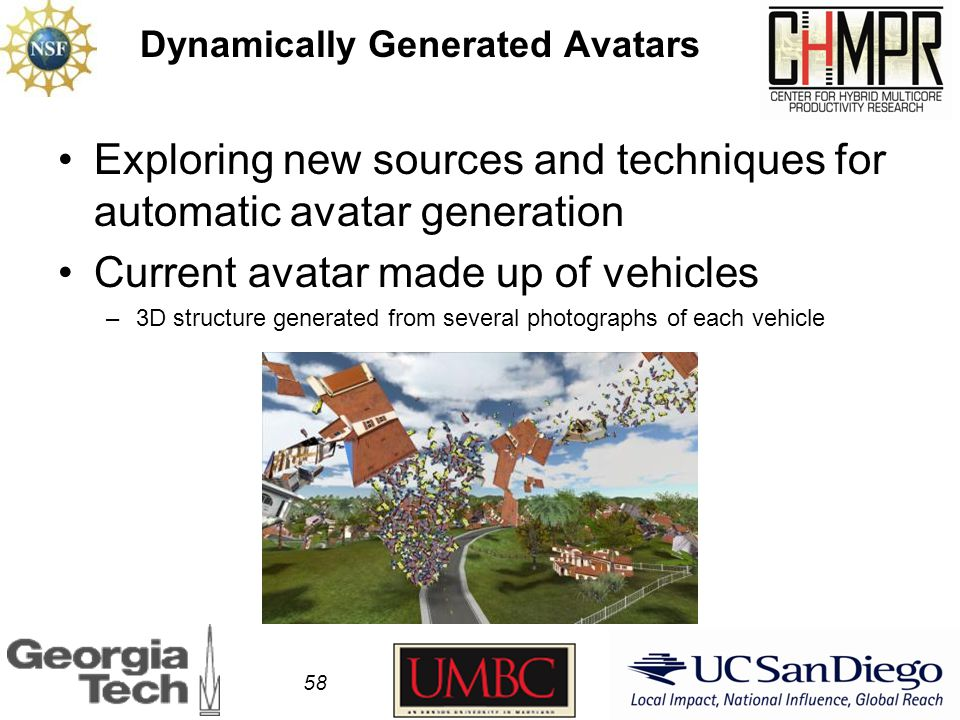 Dynamically Generated Avatars Exploring new sources and techniques for automatic avatar generation Current avatar made up of vehicles –3D structure generated from several photographs of each vehicle 58