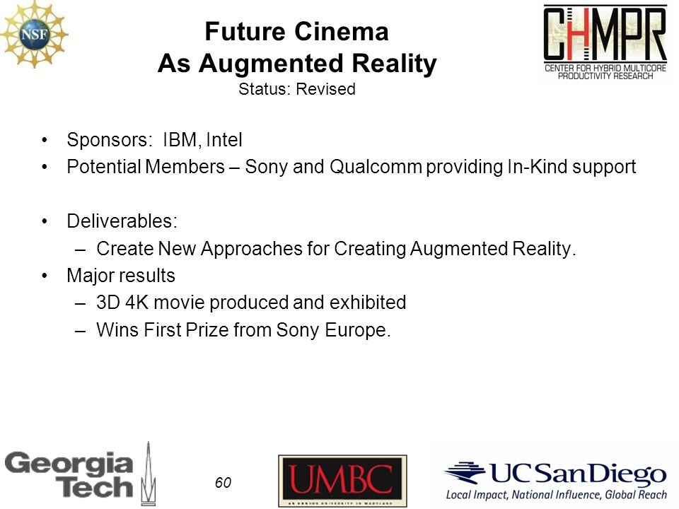 Future Cinema As Augmented Reality Status: Revised Sponsors: IBM, Intel Potential Members – Sony and Qualcomm providing In-Kind support Deliverables: –Create New Approaches for Creating Augmented Reality.
