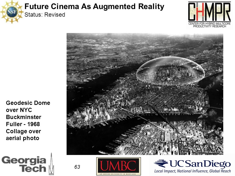 63 Geodesic Dome over NYC Buckminster Fuller - 1968 Collage over aerial photo Future Cinema As Augmented Reality Status: Revised