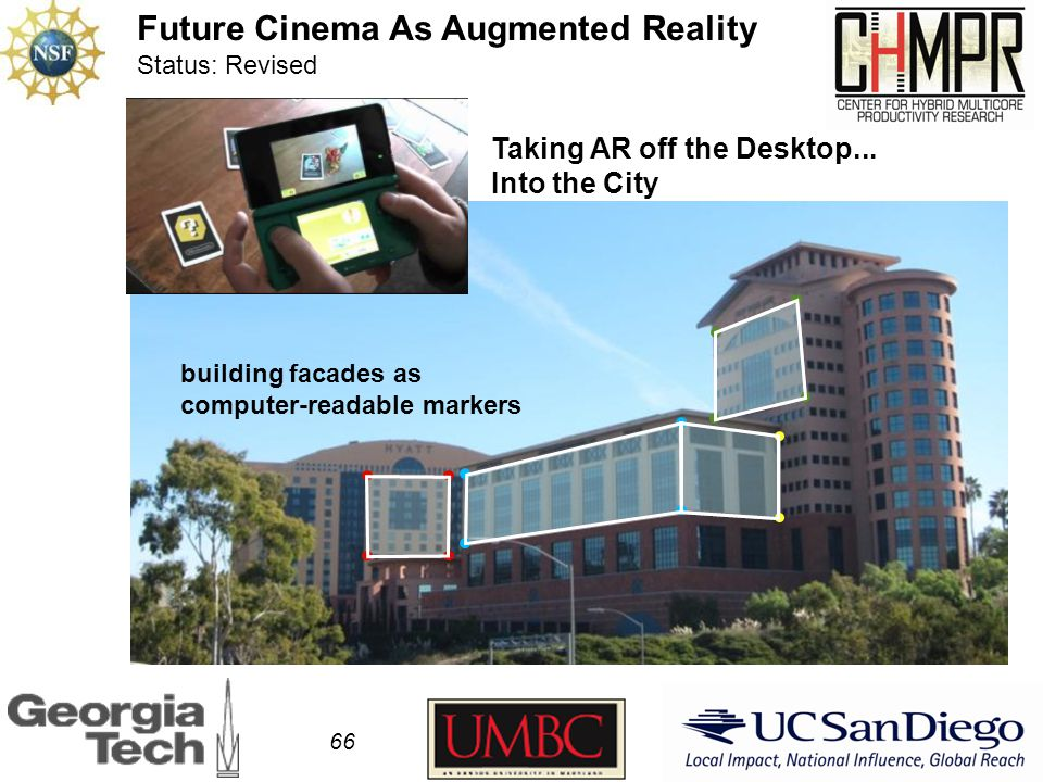 66 Future Cinema As Augmented Reality Status: Revised Taking AR off the Desktop...