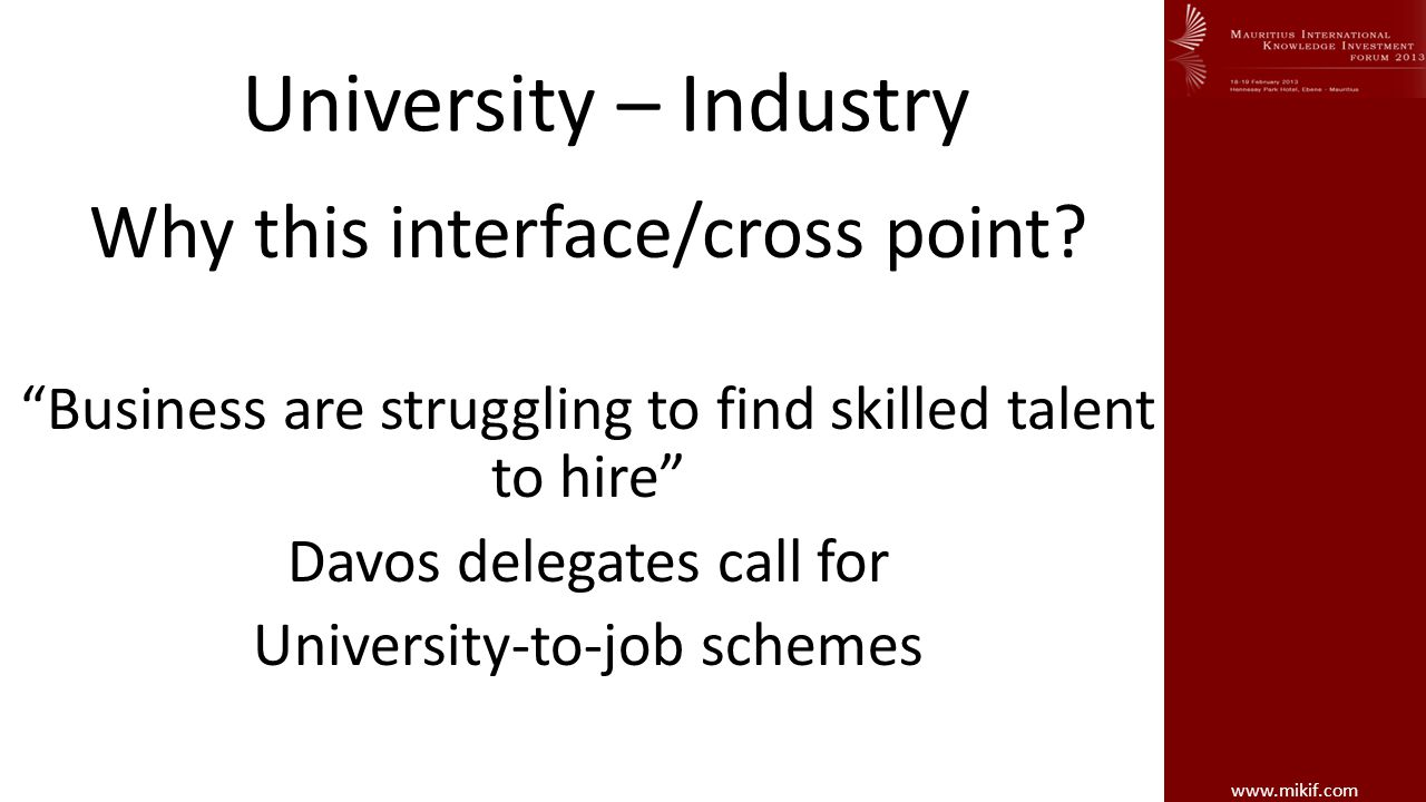 www.mikif.com University – Industry Interface Important Questions to ask.