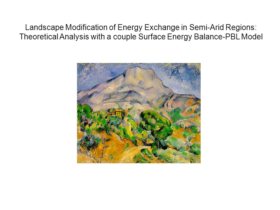 Landscape Modification of Energy Exchange in Semi-Arid Regions: Theoretical Analysis with a couple Surface Energy Balance-PBL Model