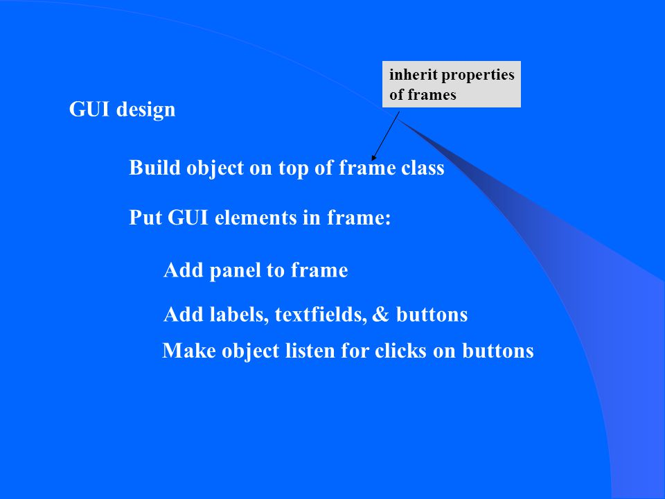 GUI design Build object on top of frame class Add panel to frame Put GUI elements in frame: Add labels, textfields, & buttons Make object listen for clicks on buttons inherit properties of frames