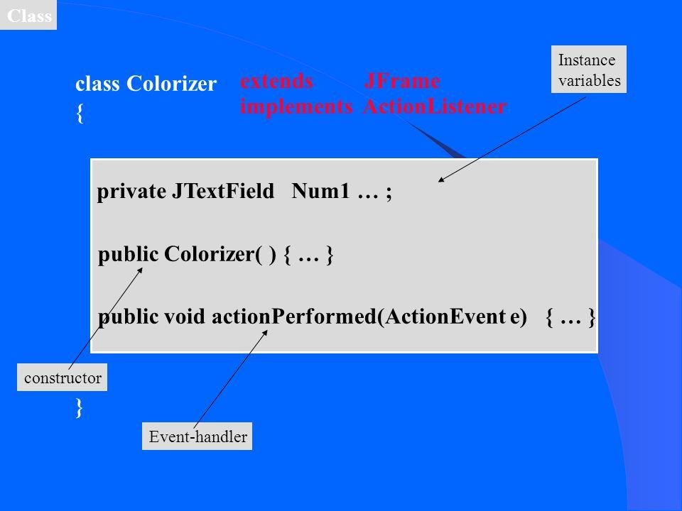 class Colorizer { }{ } implements ActionListener extends JFrame private JTextField Num1 … ; Instance variables public Colorizer( ) { … } constructor p