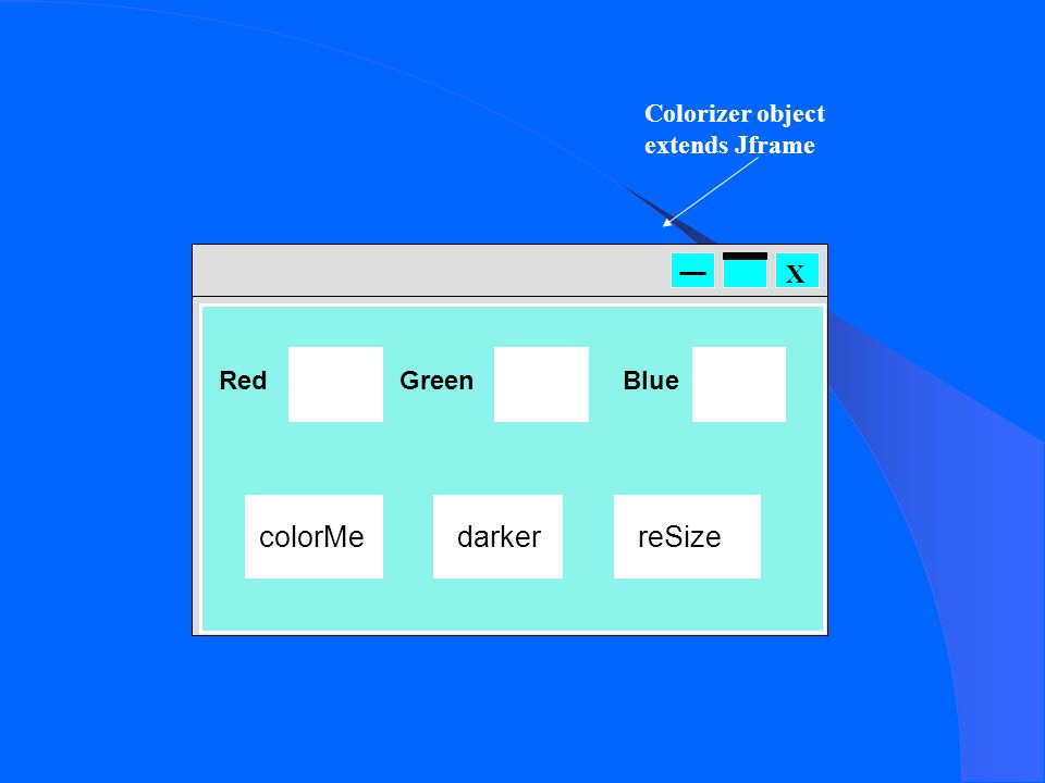 X Red colorMe GreenBlue darkerreSize Colorizer object extends Jframe