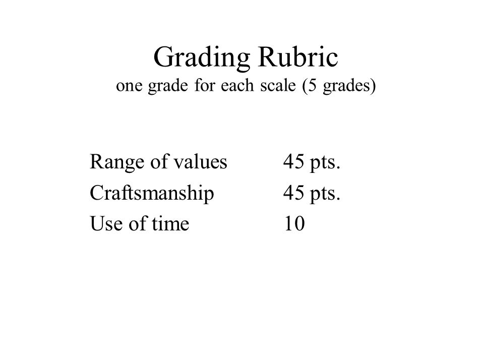 Grading Rubric one grade for each scale (5 grades) Range of values45 pts.