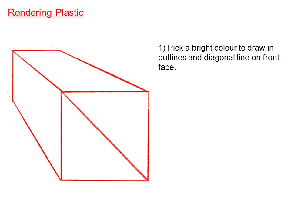 Rendering Plastic 1) Pick a bright colour to draw in outlines and diagonal line on front face.