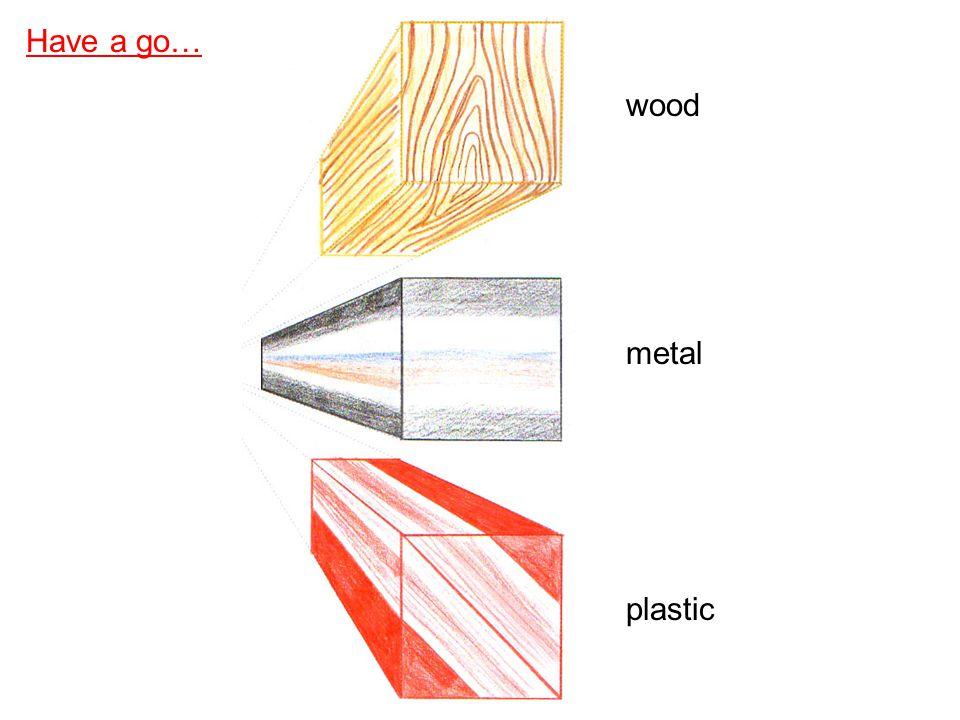 Have a go… wood metal plastic