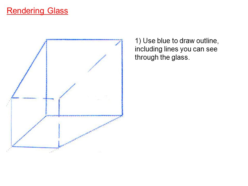 Rendering Glass 1) Use blue to draw outline, including lines you can see through the glass.
