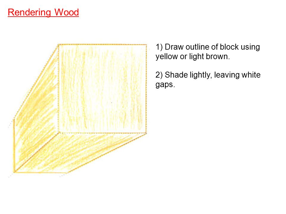 Rendering Wood 1) Draw outline of block using yellow or light brown.
