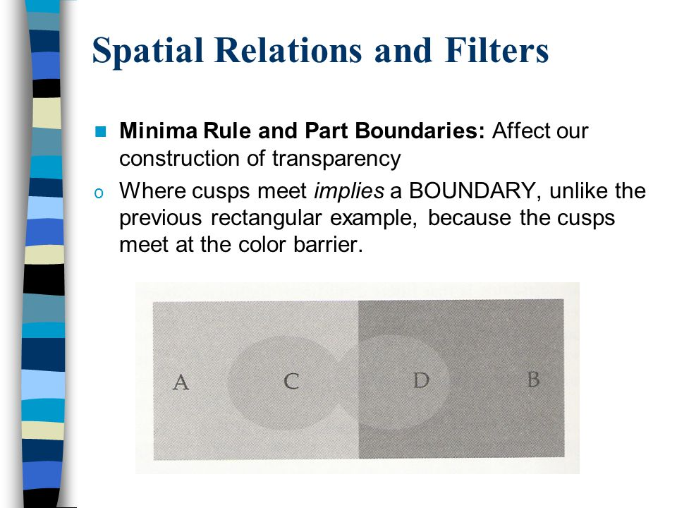 Spatial Relations and Filters Minima Rule and Part Boundaries: Affect our construction of transparency o Where cusps meet implies a BOUNDARY, unlike the previous rectangular example, because the cusps meet at the color barrier.