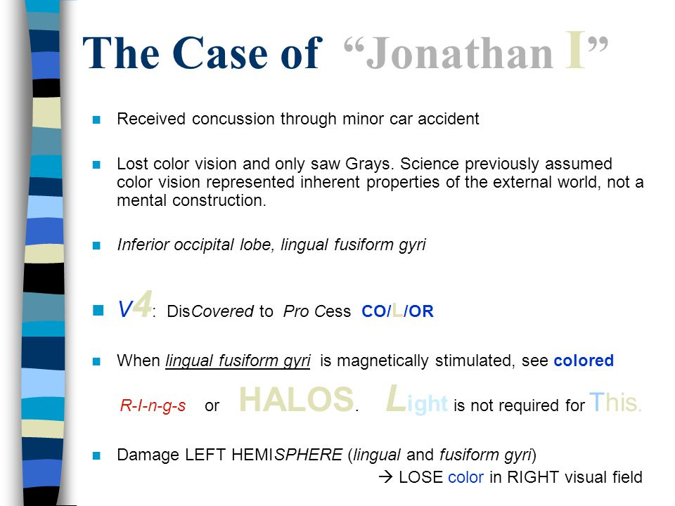 The Case of Jonathan I Received concussion through minor car accident Lost color vision and only saw Grays.
